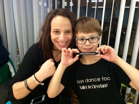 Max and his mother, Erin, showing their support for Guys Dance Too!